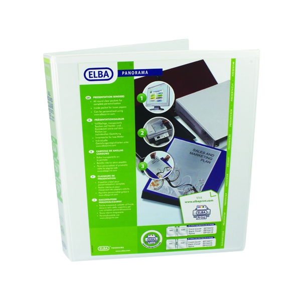 Elba Panorama  25mm 2 D-Ring Presentation Binder A4 White (6 Pack) 400008413