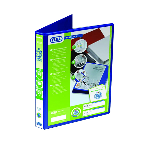 25mm Elba Panorama 25mm 4 D-Ring Presentation Binder A4 Blue (6 Pack) 400008415