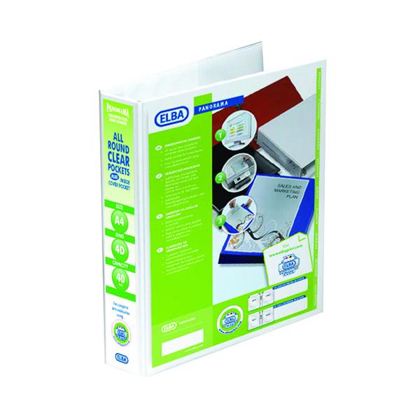 Elba Panorama 40mm 4 D-Ring Presentation Binder A4 White 400008419