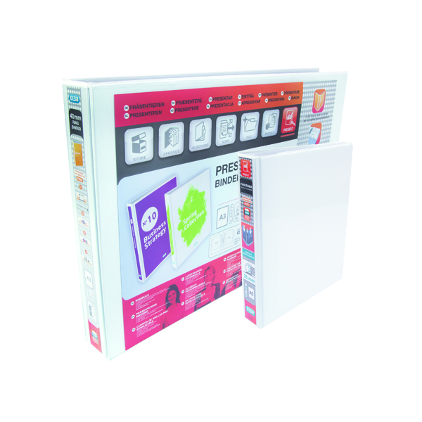 25mm Elba Panorama 25mm 2 D-Ring Presentation Binder A5 White (6 Pack) 400008434