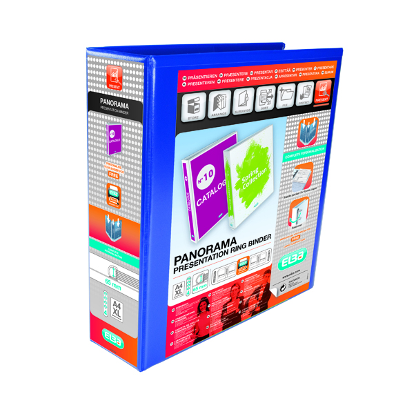 40mm Elba Panorama 65mm 4 D-Ring Presentation Binder A4 Blue (4 Pack) 400008675
