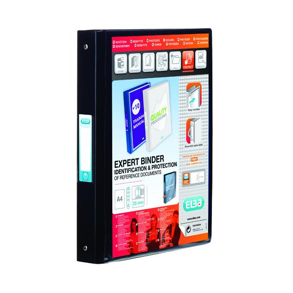 Elba Vision 25mm 4 O-Ring Binder PVC A4 Black 100080881