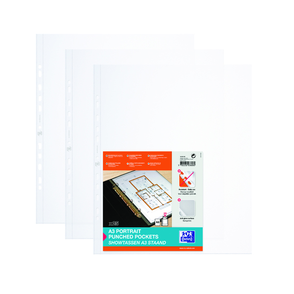 A3 Elba Punched Pocket Polypropylene Portrait A3 Clear (100 Pack) 100080921