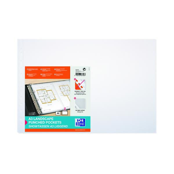 A3 Elba Punched Pocket Polypropylene Landscape A3 Clear (100 Pack) 100080922