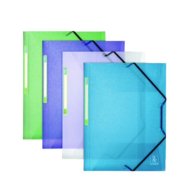 Elba 2nd Life Three Flap Folder A4 Assorted (4 Pack) 400066419