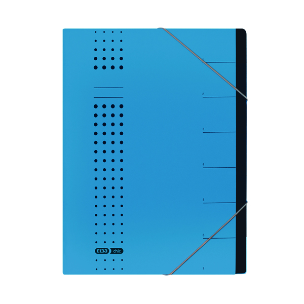 Foolscap Elba Chic 7 Part Heavyweight Organiser File A4 Blue 400002020