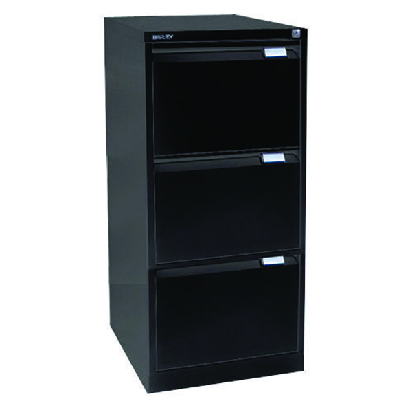 Bisley 3 Drawer Filing Cabinet Flush Fronted Black BS3E BLACK