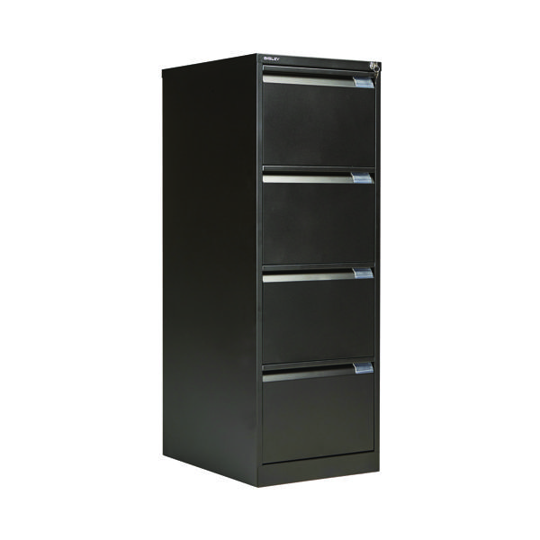 Four Drawer Bisley 4 Drawer Filing Cabinet Flush Fronted Black BS4E BLACK