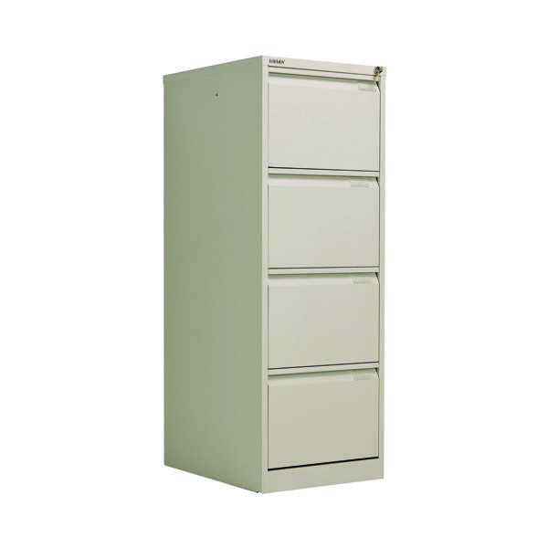 Four Drawer Bisley 4 Drawer Filing Cabinet Flush Fronted Goose Grey BS4EGY