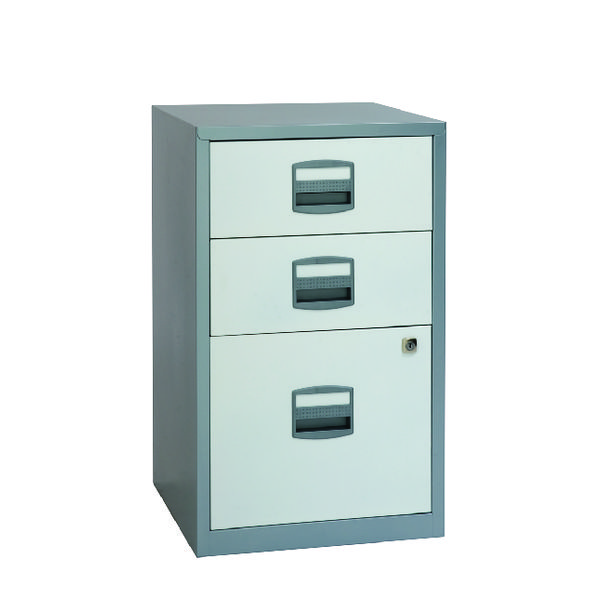 Bisley 3 Drawer A4 Filer Silver/White BY00587