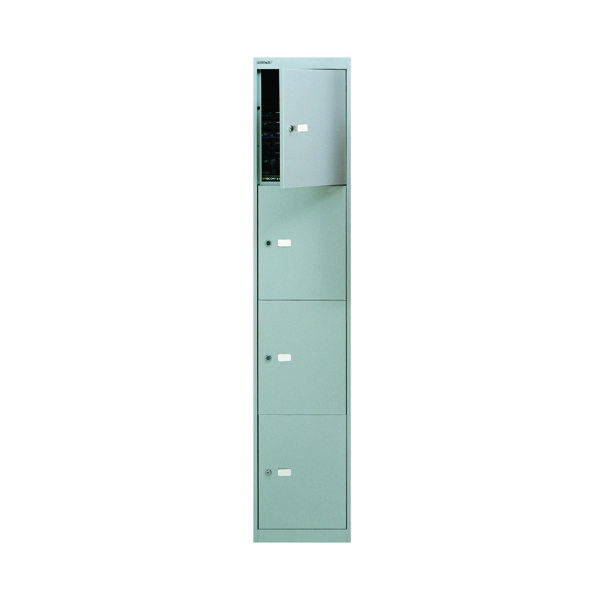 Cupboards H over 1200mm Bisley 4 Door Locker D305mm Goose Grey BY09213