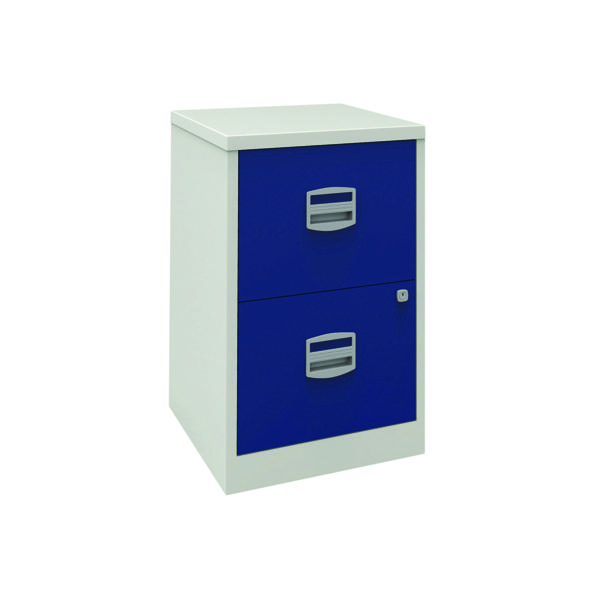 Two-Drawer Bisley 2 Drawer A4 Home Filer Grey/Blue PFA2-8748