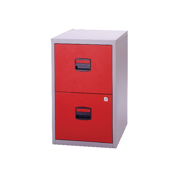 Two-Drawer Bisley 2 Drawer A4 Home Filer Grey/Red PFA2-8794
