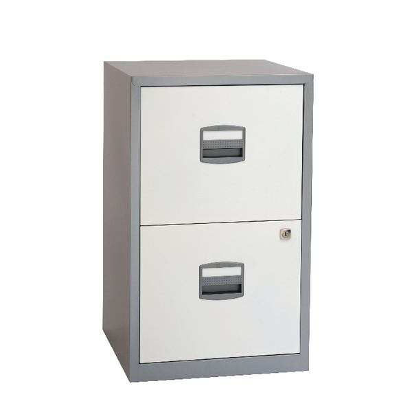Two-Drawer Bisley 2 Drawer A4 Home Filer Silver/White BY78731