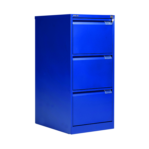 Three-Drawer Bisley BS3E Filing Cabinet Flush Front 3D Lock Blue BS3E/BLUE