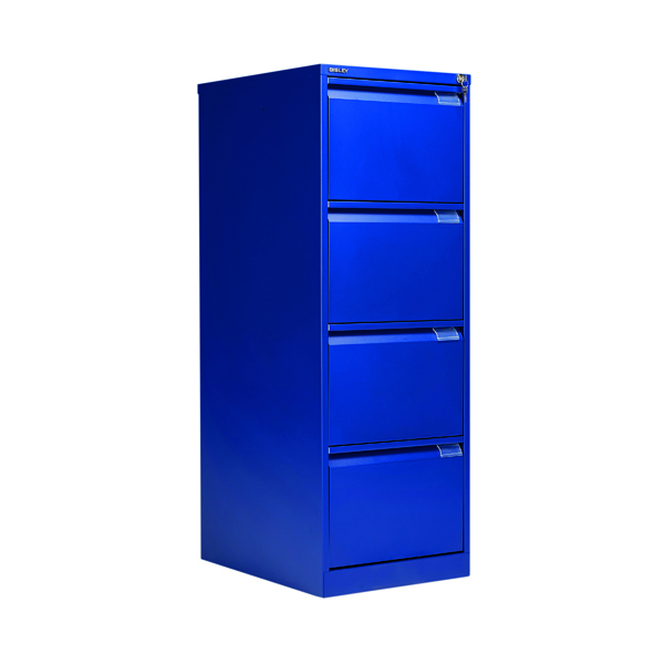 Four Drawer Bisley BS4E Filing Cabinet Flush Front 4D Lock Blue BS4E/BLUE