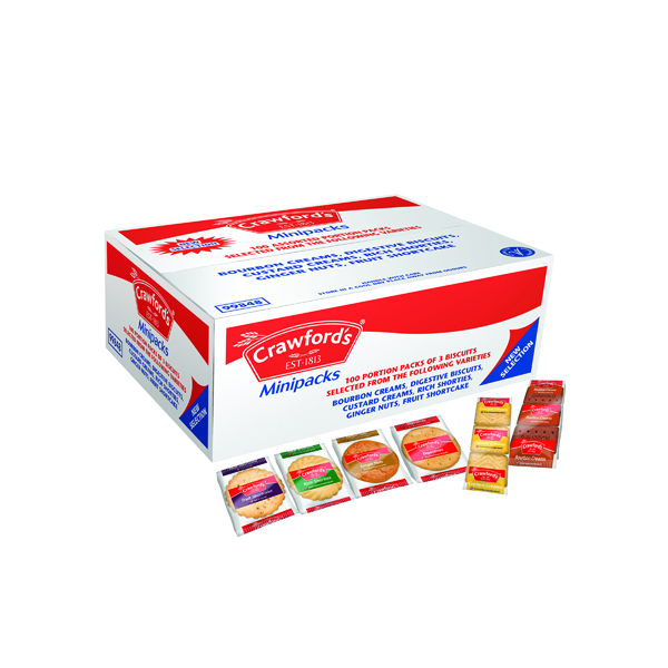Crawfords Assorted Mini Biscuit Packs (100 Pack) 99848