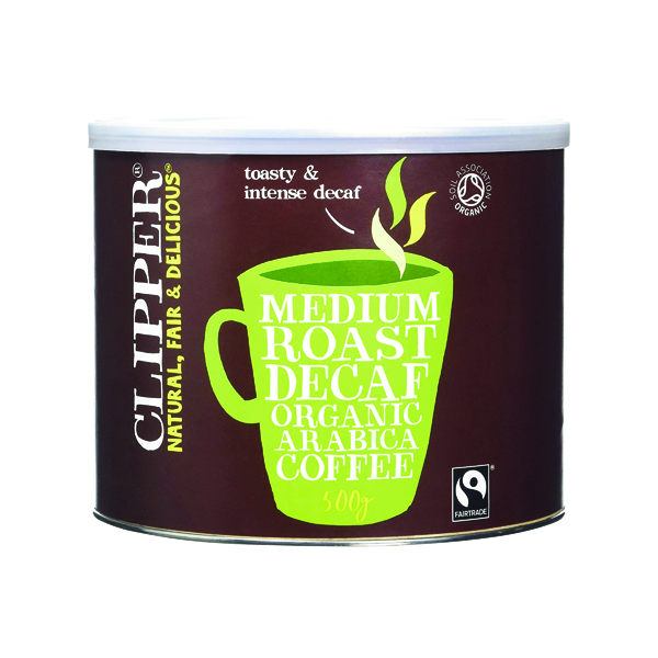 Coffee Clipper Fairtrade Organic Decaffeinated Coffee Tin 500g A06746