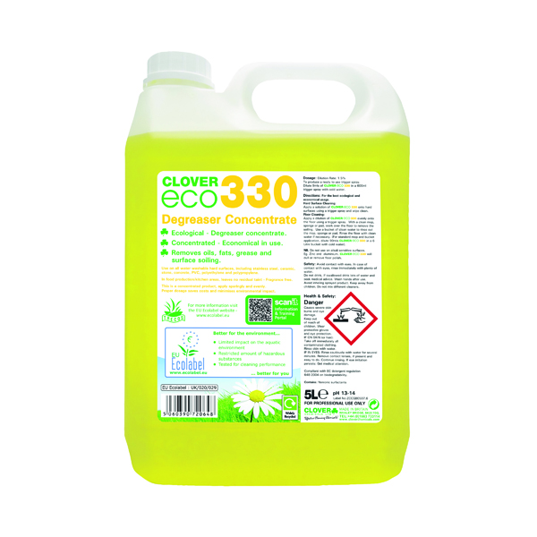 Kitchen/Washroom Cleaning Clover ECO 330 Degreaser Concentrate 5 Litre (2 Pack) 330