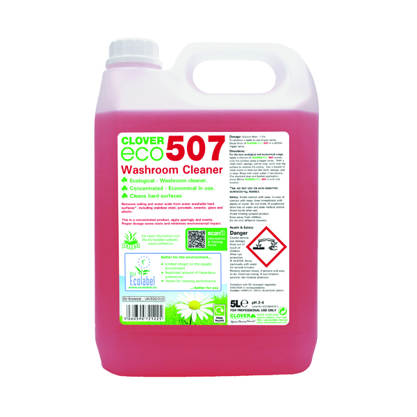 Cleaning Chemicals Clover ECO 507 Washroom Cleaner 5 Litre (2 Pack) 507