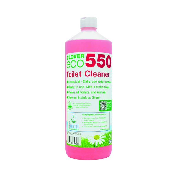 Kitchen/Washroom Cleaning Clover ECO 550 Toilet Cleaner 1 Litre (12 Pack) 550