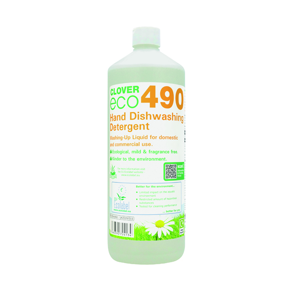 Kitchen/Washroom Cleaning Clover ECO 490 Hand Dishwashing Detergent 1 Litre (12 Pack) 490
