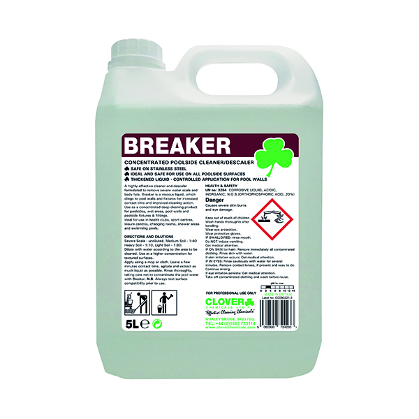 Cleaning Chemicals Clover Breaker Concentrated Poolside Cleaner/Descaler 5 Litre 506
