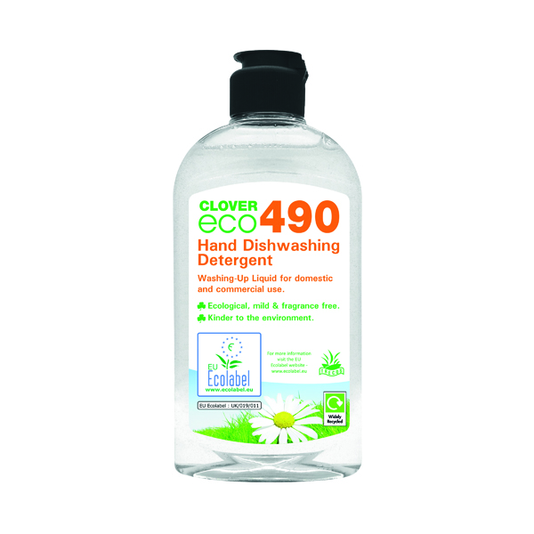 Cleaning Chemicals Clover ECO 490 Hand Dishwashing Detergent 300ml (6 Pack) 490