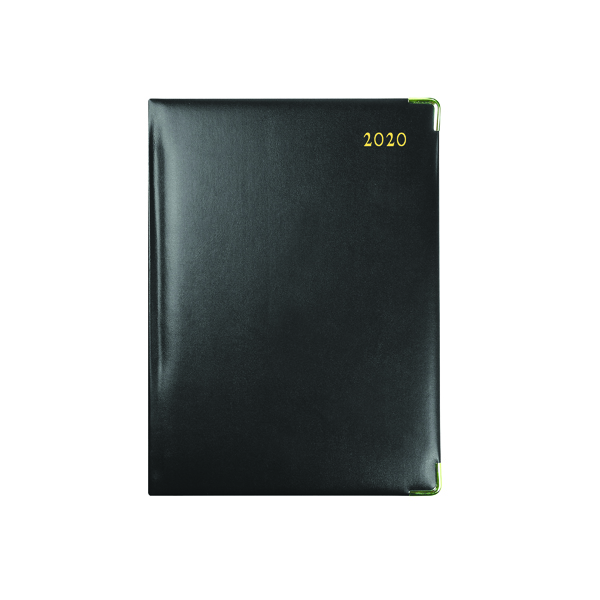 Day a Page Collins Classic Diary Manager Day Per Page Appointment 2020 Black 1200V