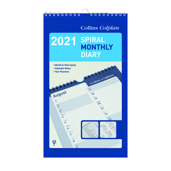 Calendars Collins Monthly Spiral Diary 2021 64