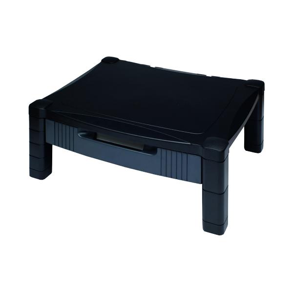 Risers Contour Ergonomics Adjustable Monitor Stand with Drawer Black CE77685