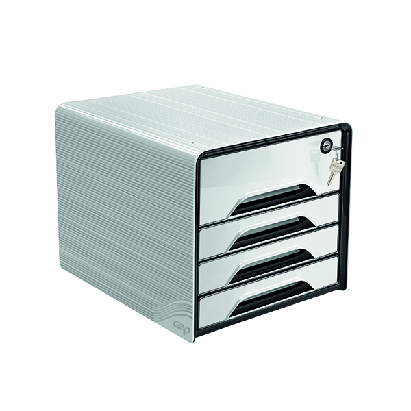 4 Drawer CEP Smoove Secure 4 Drawer Module with Lock White 7-311S White