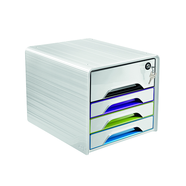 4 Drawer CEP Smoove Secure 4 Drawer Module with Lock Multicoloured 7-311S GM Arctic