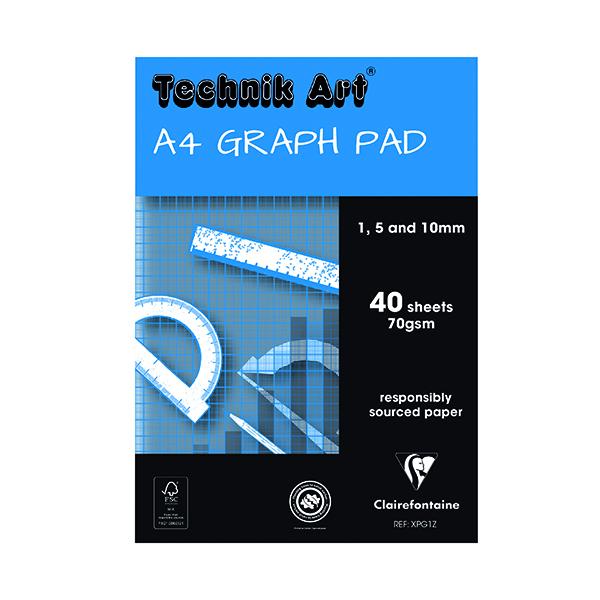 Clairefontaine Technik Art 1/5/10mm Graph Pad 40 Leaf XPG1