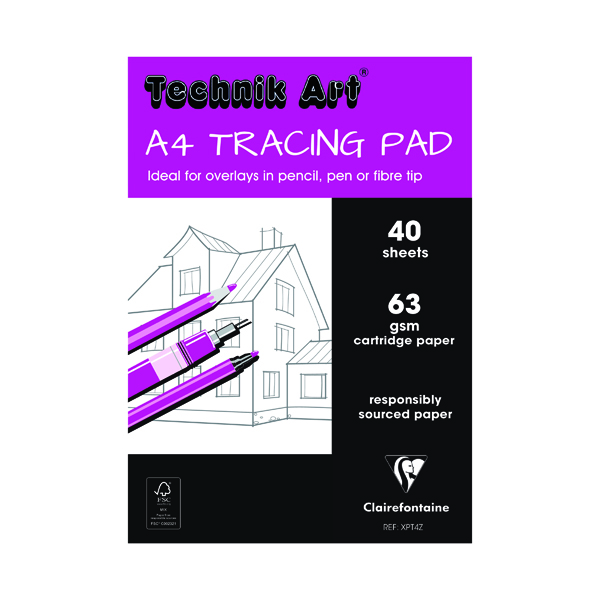 Tracing Clairefontaine Technik Art Tracing Pad 63gsm A4 40 Sheets XPT4