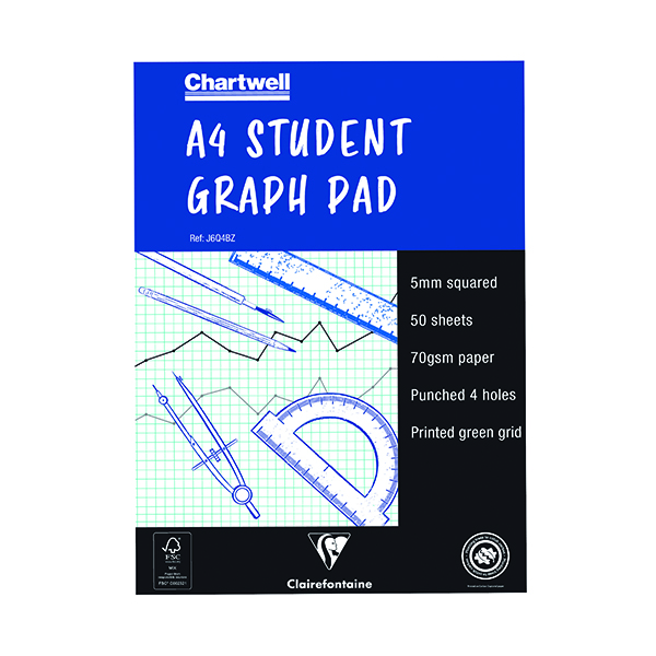 A4 Clairefontaine Chartwell 5mm Quadrille Student Graph Pad A4 J6Q4B