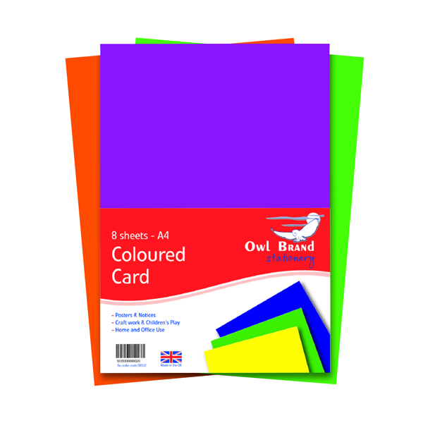 A4 Coloured Card 160gsm 8 Sheets (10 Pack) OBS02
