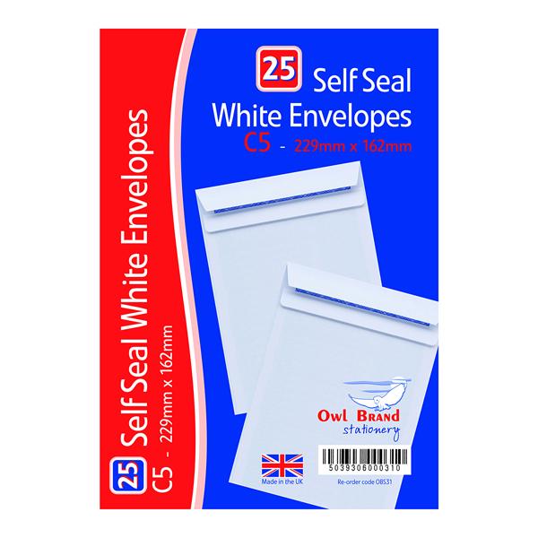 Envelopes C5 Self Seal Envelopes x 25 White (20 Pack) OBS31
