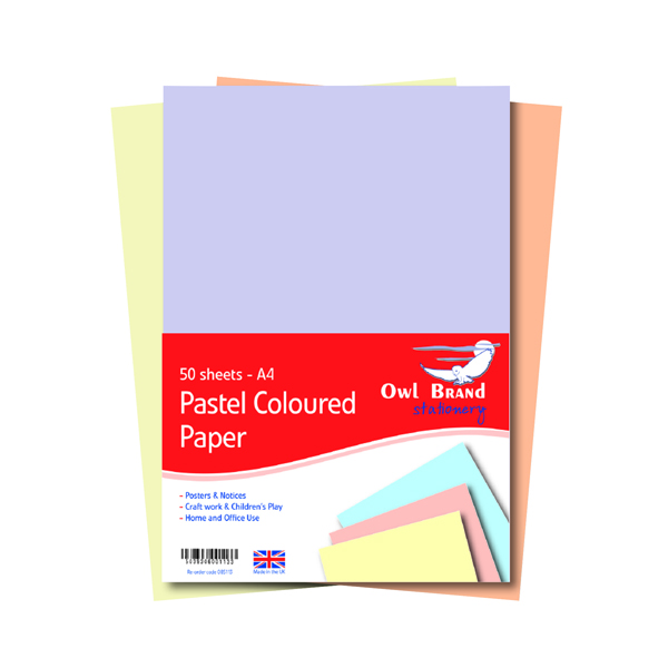 Colour 80gsm A4 Pastel Paper 80gsm 50 Sheets (10 Pack) OBS113