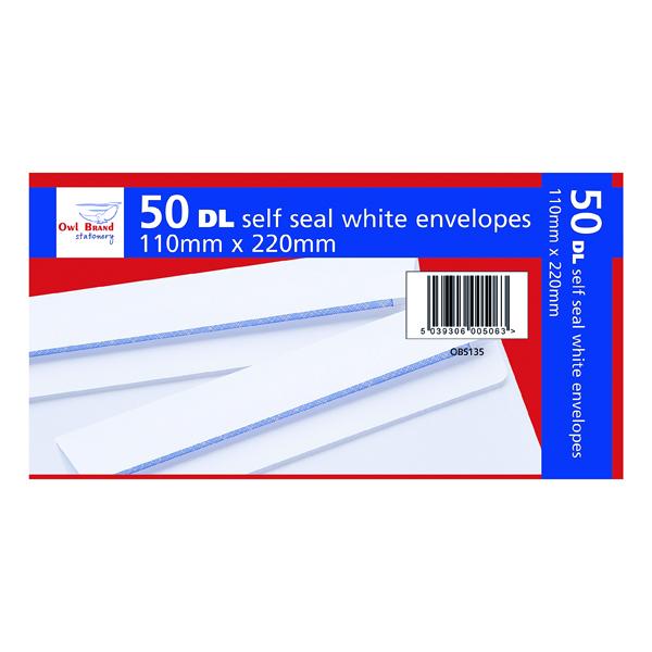 Envelopes DL Self Seal Envelopes x 50 White (20 Pack) OBS135