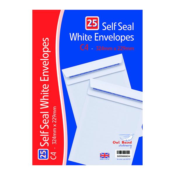 Envelopes C4 Self Seal Envelopes x 25 White (20 Pack) OBS755