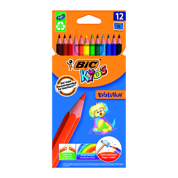 Bic Kids Evolution Ecolutions Colouring Pencils Assorted (12 Pack) 829029