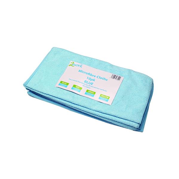 Cloths / Dusters / Scourers / Sponges 2Work Microfibre Cloth 400x400mm Blue (10 Pack) 101161BU