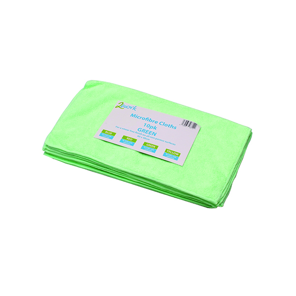 Cloths / Dusters / Scourers / Sponges 2Work Green 400 x 400mm Microfibre Cloth (10 Pack) 101161GN