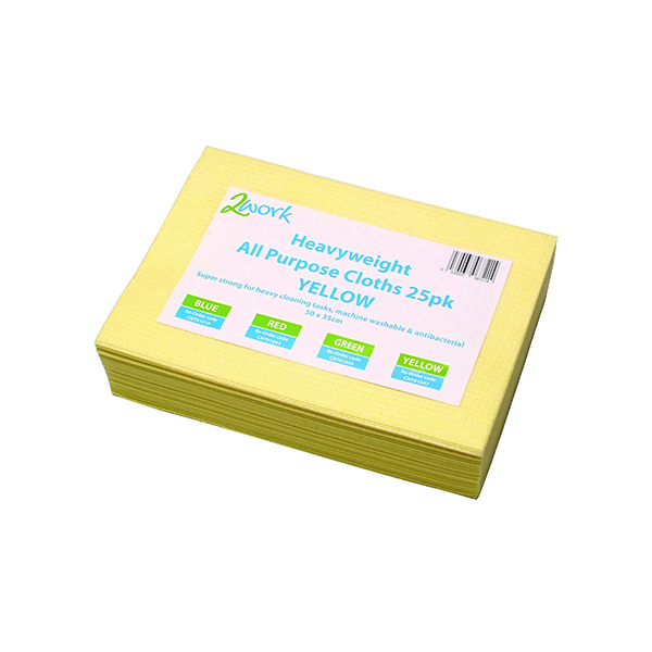 Cloths / Dusters / Scourers / Sponges 2Work Heavyweight Cloth 400x400mm Yellow (25 Pack) 103278