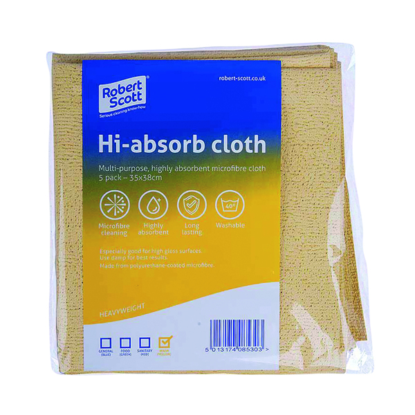 Robert Scott Hi-Absorb Microfibre Cloth Yellow (5 Pack) 103986YELLOW