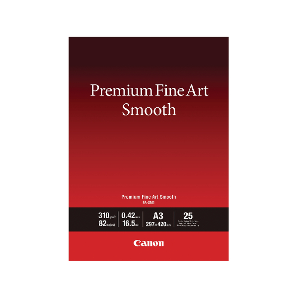 Canon Premium Fine Art Smooth A3 Paper (25 Pack) 1711C003