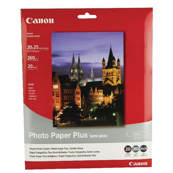 Other Size Canon Bubble Jet Semi-Gloss 8x10in Paper 260gsm (20 Pack) 1686B018