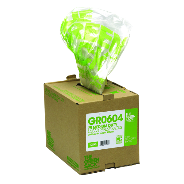Binliner/Bags The Green Sack Refuse Bag in Dispenser Clear (75 Pack) GR0604