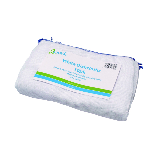 Cloths / Dusters / Scourers / Sponges 2Work Dishcloth 300x400mm White (10 Pack) 100212